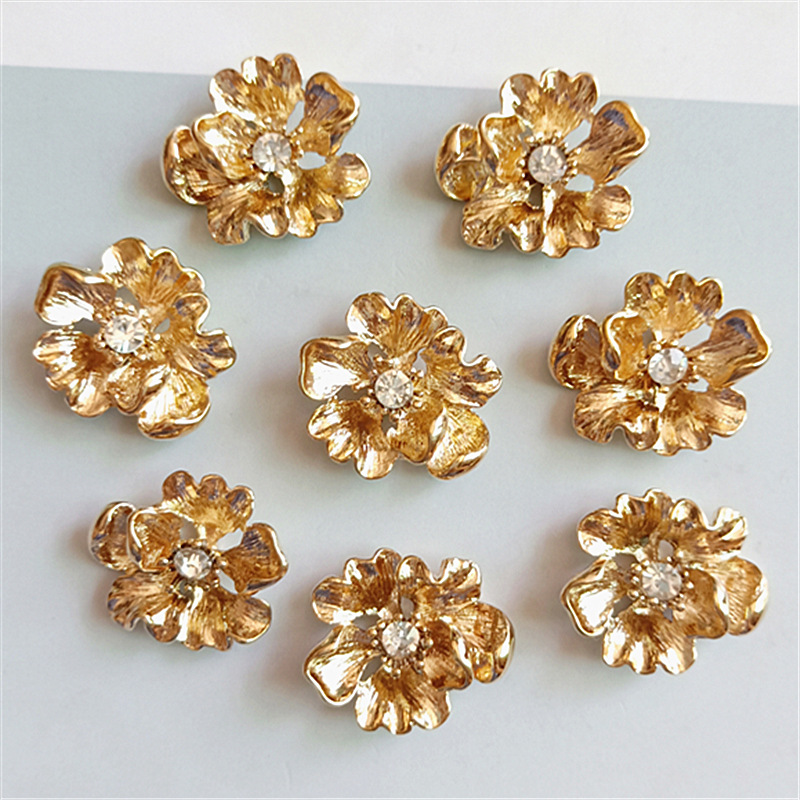 40 PCS 20mm*22mm Fashion Metal Alloy KC Gold Crystal Rhinestone Flowers Connectors Charm For Jewelry Making