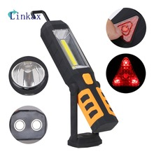 3 Modes COB LED Work Light Magnet Flashlight With Hook Folding Torch LED Flashlight Car Working Lights By 3AAA Battery