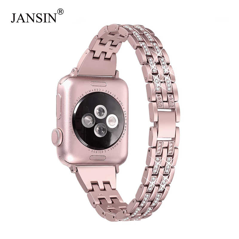 JANSIN Diamond watchBand for Apple Watch 38mm 40mm 42mm 44mm Bracelet women Stainless steel Strap iWatch band Series 5 4 3 2 1