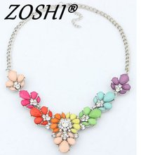 Fashion Crystal Necklaces Colorful Crystal Gem Flower Bead Silver Pendant Statement Necklace Choker Collar Necklace for Women