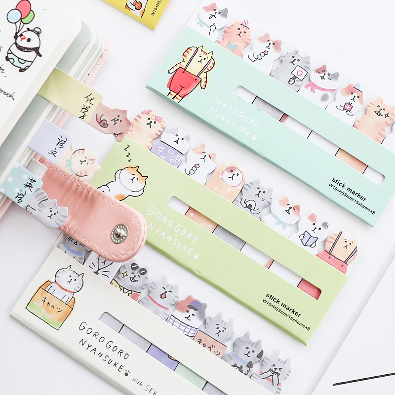 4 pcs Cute cat sticky note set Mini index sticker for diary planner agenda memo Bookmarks Office tools School supplies A6881 Lahore
