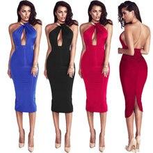 65b454c8fa5 Charme femmes dos nu robe élégante plaine slim moulante robe sans bretelles  longue licou robe rouge vintage rétro pas cher vêtem.