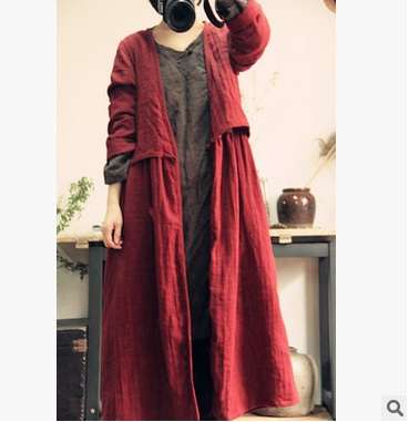 New products listed in the spring of 2016, 100% of the original design of high-end loose big yards  cotton linen women dust coat