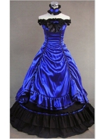 Blue Off the Shoulder Masquerade Gothic Ball Gowns Victorian Dresses