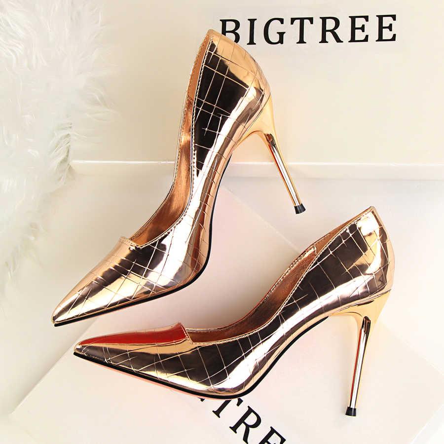 ... BIGTREE Brand Women s 9cm Thin High Heels Luxury Design Pumps Stiletto  Scarpins Pointed Toe Sexy Prom ... ee2c92a5c917