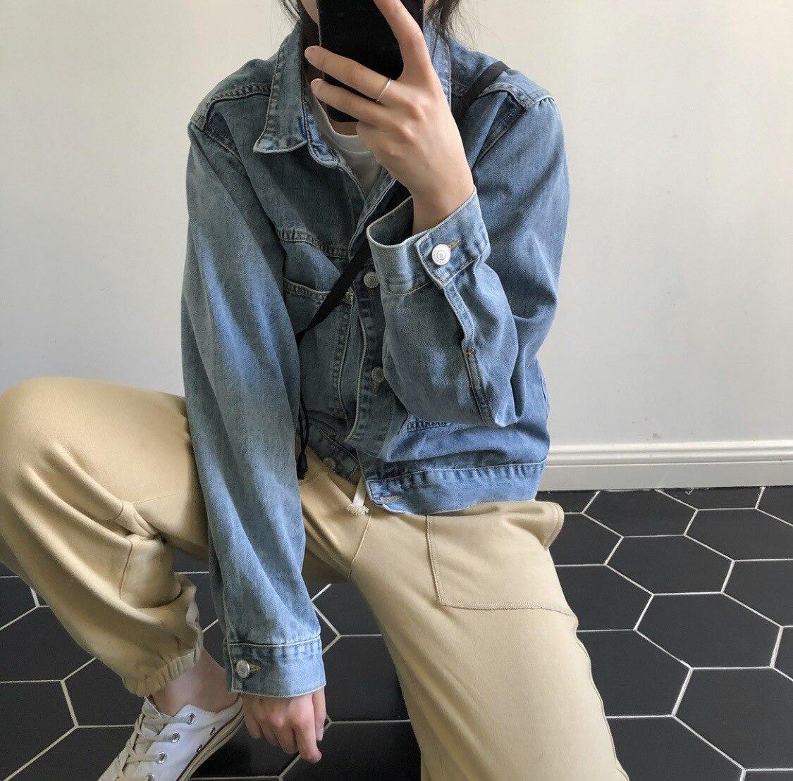 Régulier Pleine Veste Femelle Automne Manteau Femmes Collar Jeans Blue Lâche Nouvelles Outwear Solide Turn Titotato down Coton Casual 2018 Poches X0qxUwq57