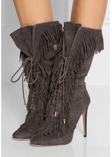 Hot Selling Suede Fringed Lace-up High Heel Boots 2019 Pointed Toe Thin Heels Ankle Boots Woman Sexy Riding Boots Tassel Boots
