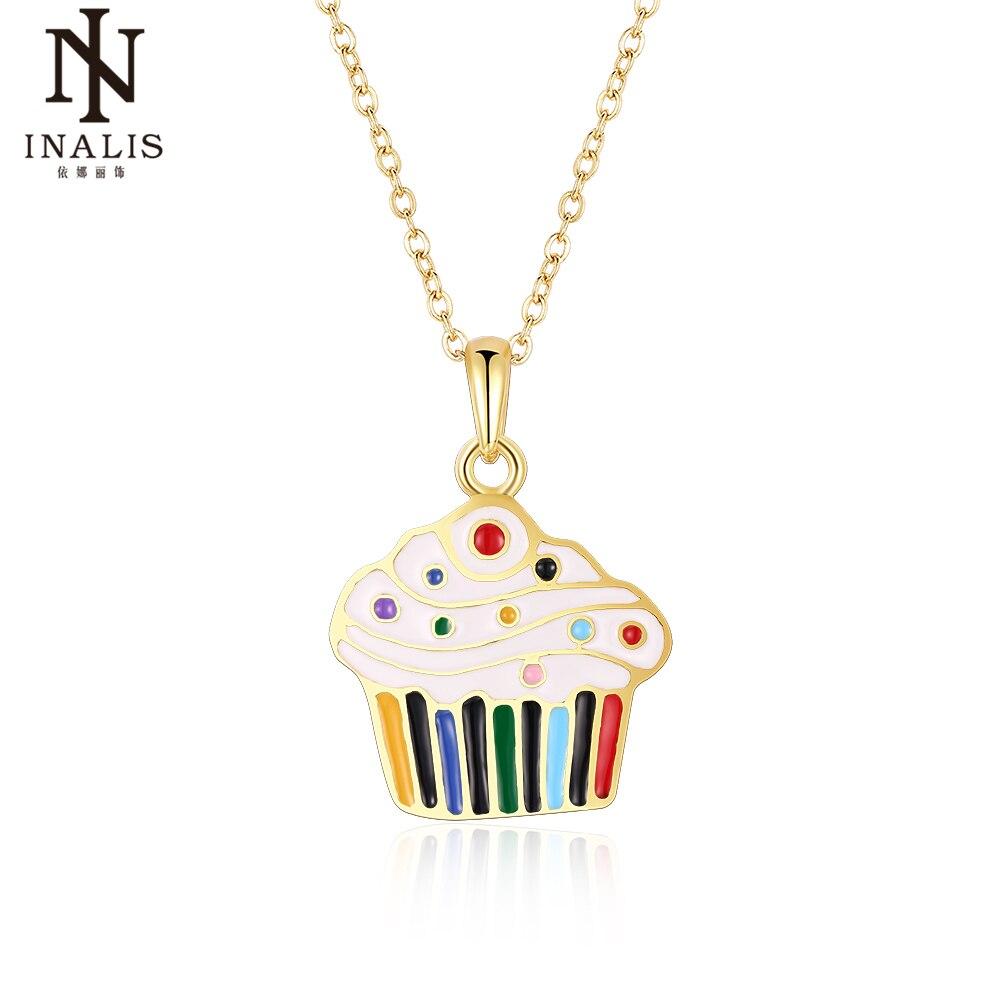 INALIS элегантные золотые цепи разноцветной эмалью капли масла Ice кремовое ожерелье для Для Женщин Девочка украшения подарок