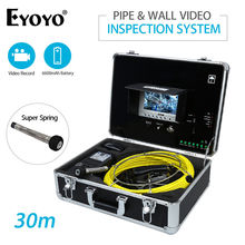 Eyoyo 30M 7″ LCD Monitor Pipe Wall Video Inspection Sewer Drain Camera  Pipeline Snake Cam DVR 6600mAh Battery with USB Port