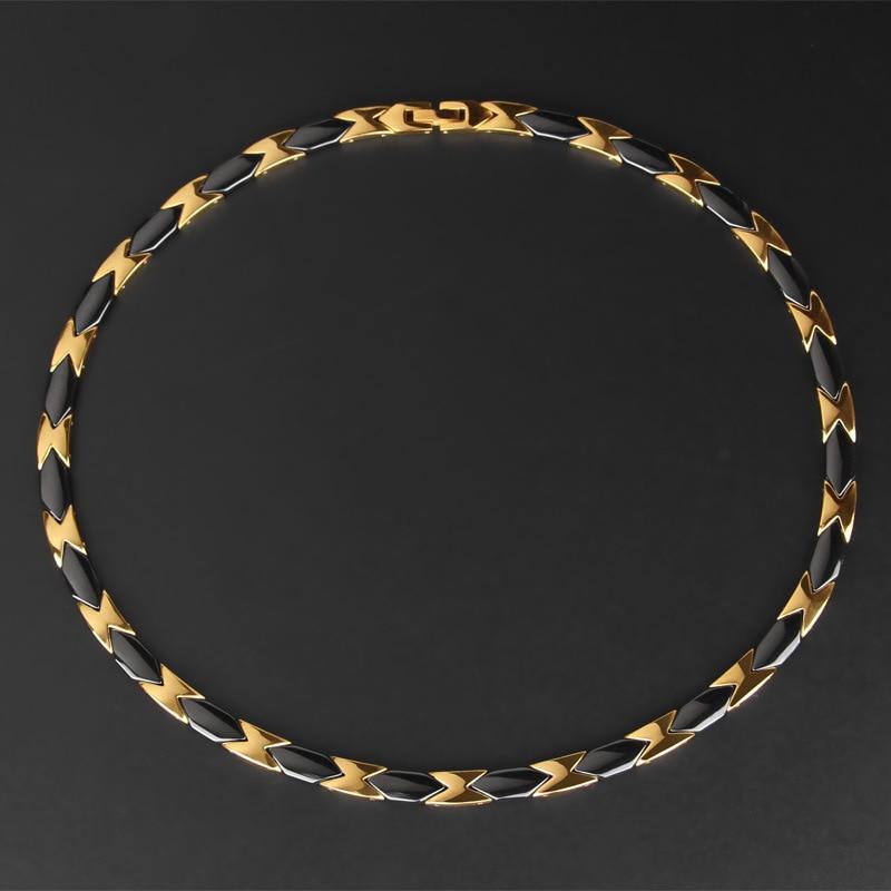 Health Anti-fatigue Anti-radiation Necklace Domineering Male and Female Titanium Steel Ceramic Collar Jewelry