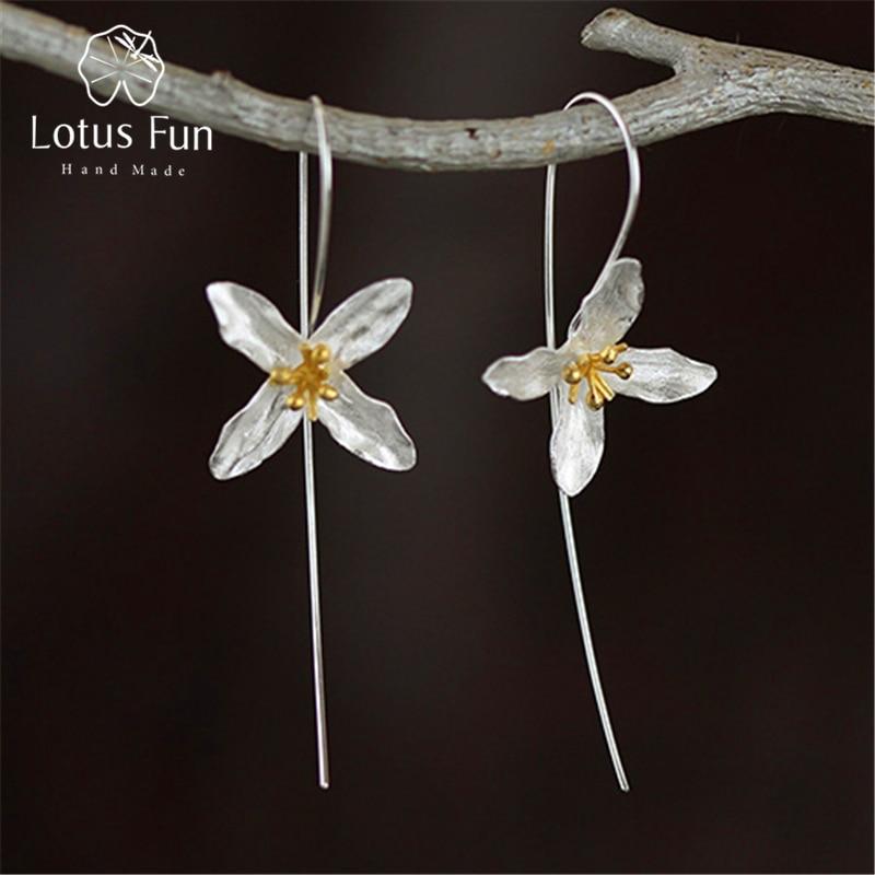 Lotus Fun реальные стерлингового серебра 925 природных ручной Ювелирные украшения Винтаж поэтический Клевер Моды Висячие серьги для Для женщин brincos