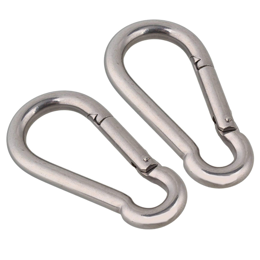 STAINLESS STEEL Carabiner Clips ~ 8mm x 80mm Long ~ Large NON RUSTING Snap Hook