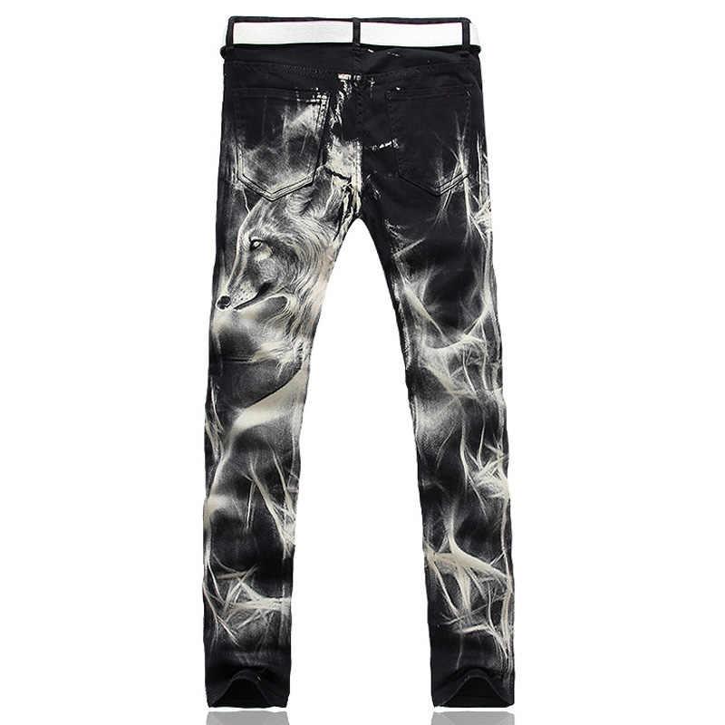 2018 Yeni moda erkek kurt baskılı kot erkekler İnce düz Siyah streç kot yüksek kaliteli tasarımcı pantolon gece kulüpleri şarkıcılar