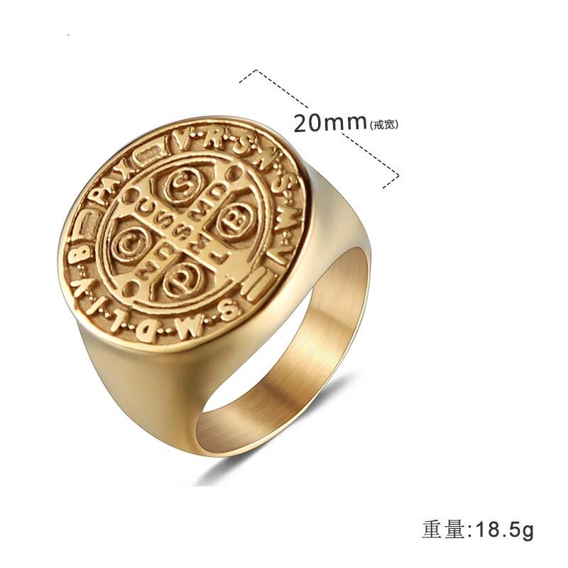 Olowu, простое, полированное, широкое, круглое, большое кольцо, золото, нержавеющая сталь, крест, кольцо для мужчин, ювелирное изделие, подарок, винтаж