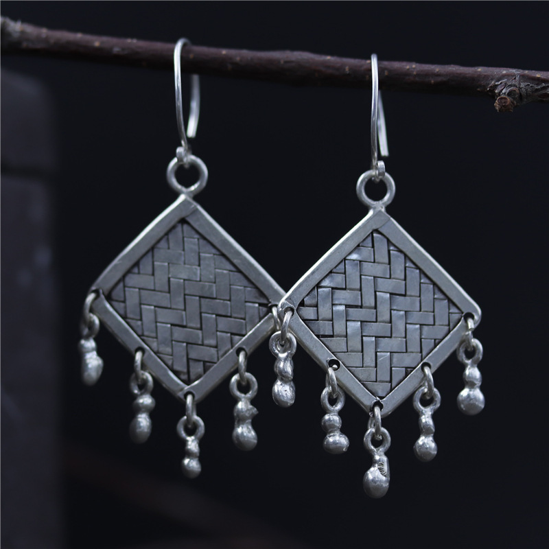 C&R Real 925 Sterling Silver Earrings for Women Square Shape Braided Thai Silver Drop Earrings Handmade Fine Jewelry