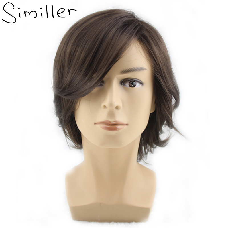 Similler Men's Short Style Wavy Bouncy Side Swept Fringe Bang Hairstyle Dark Brown Color Hair Wig