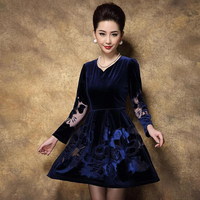Large Sizes 2014 Autumn Women S High Quality Elegant Gold Velvet Embroidered One Piece Dress Autumn