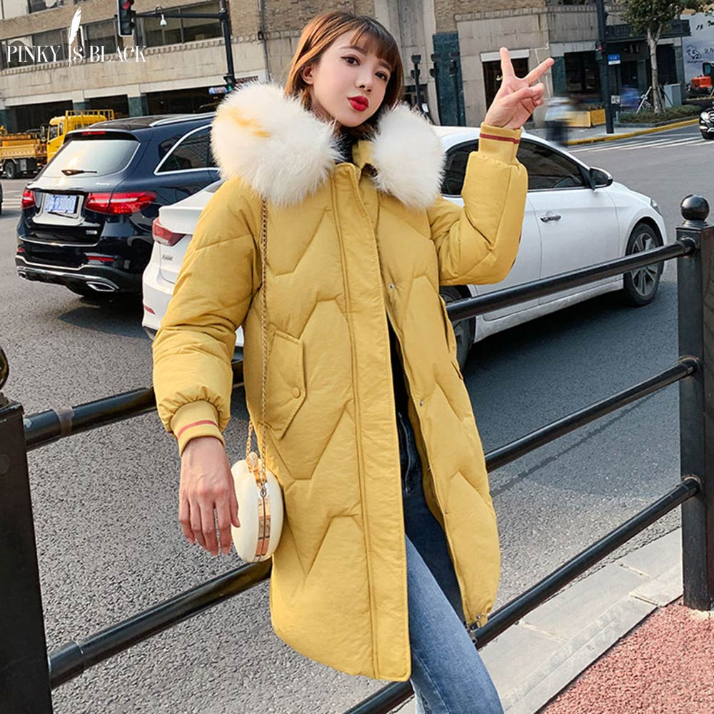 PinkyIsBlack Large Fur Hooded Winter Jacket Women Thick   Parkas   Long Winter Coat Women Down Cotton Lady Wadded Jacket Coat Female