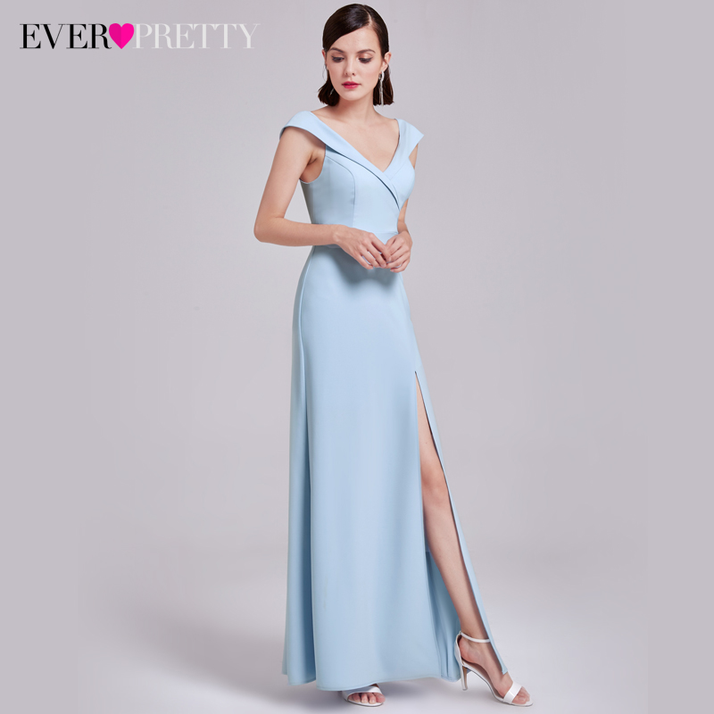 Sexy V-Neck Evening Dresses Ever Pretty EP07203  Elegant Evening Dresses With Cap Sleeves Women High Splits Party Dresses 2017