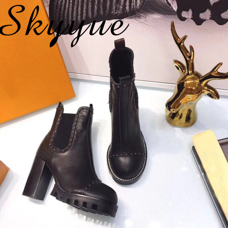 SKYYUE Autumn Winter New Genuine Leather Metal Studded Slip On Women Boots Round Toe Chunky Heel Women Ankle Boots Shoes Women riding winter boots feathers 2015 new fashion korean metal decoration genuine leather elevator pull on pure color round toe