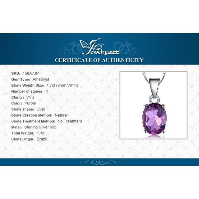 JewelryPalace Ovale 1.7ct Naturale Viola Ametista Birthstone Solitaire Pendente Solido 925 Gioielli In Argento Sterling Senza una Catena