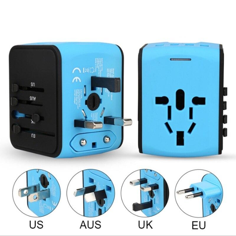 Nuevo adaptador de cargador de viaje Universal todo el mundo eléctrico US UK EU AU 4 parte USB adaptador enchufe de viaje internacional