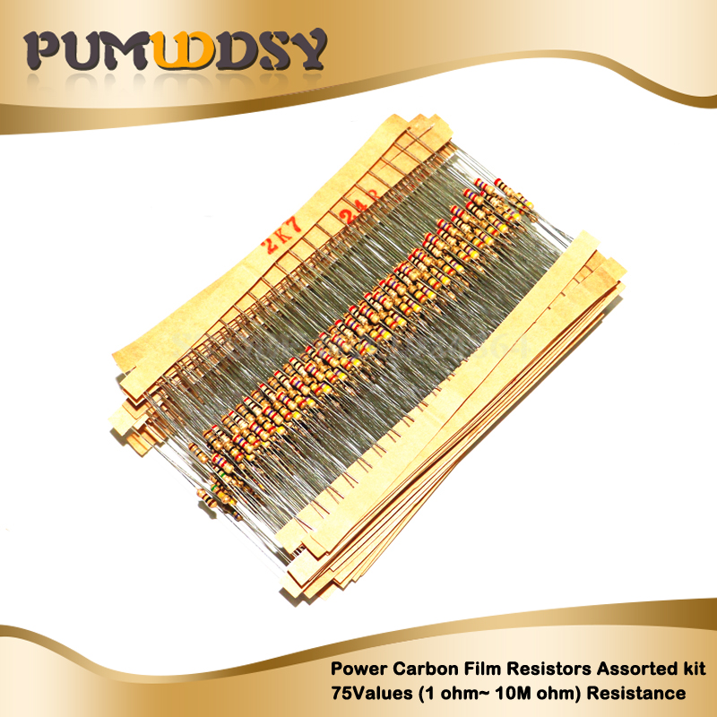 New 1500pcs 1/4W Carbon Film Resistors Assorted Kit 75Values (1 Ohm~ 10M Ohm) Resistance 5% Tolerance Resistor Pack