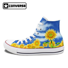 Women Men Converse Chuck Taylor Floral Sunflower Original Design Custom High Top Hand Painted Sneakers Man