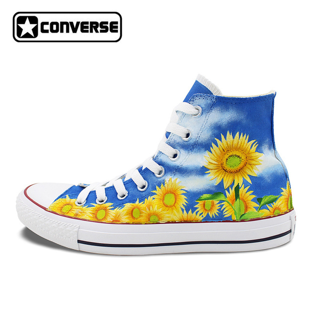 Women Men Converse Chuck Taylor Floral Sunflower Original Design Custom  High Top Hand Painted Sneakers Man Woman Shoes Gift ae6764878de9