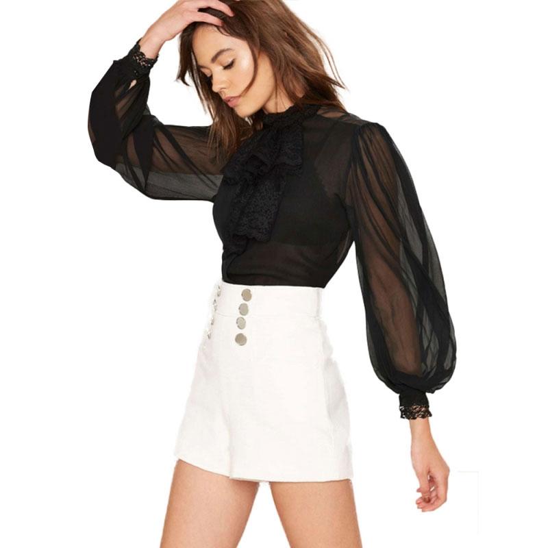 HDY Women Black Sheer Blouse Shirts Lantern Sleeve Bow Tie Lace up Sexy Lady Shirts Bowknot Elegant Female Tops Blusas Femininos 6