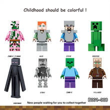 My world series Figures Steve Alex Greeper Villager Zombie Enderman Legoings Building BlockS Toys Kits Bricks fairy tale toys(China)