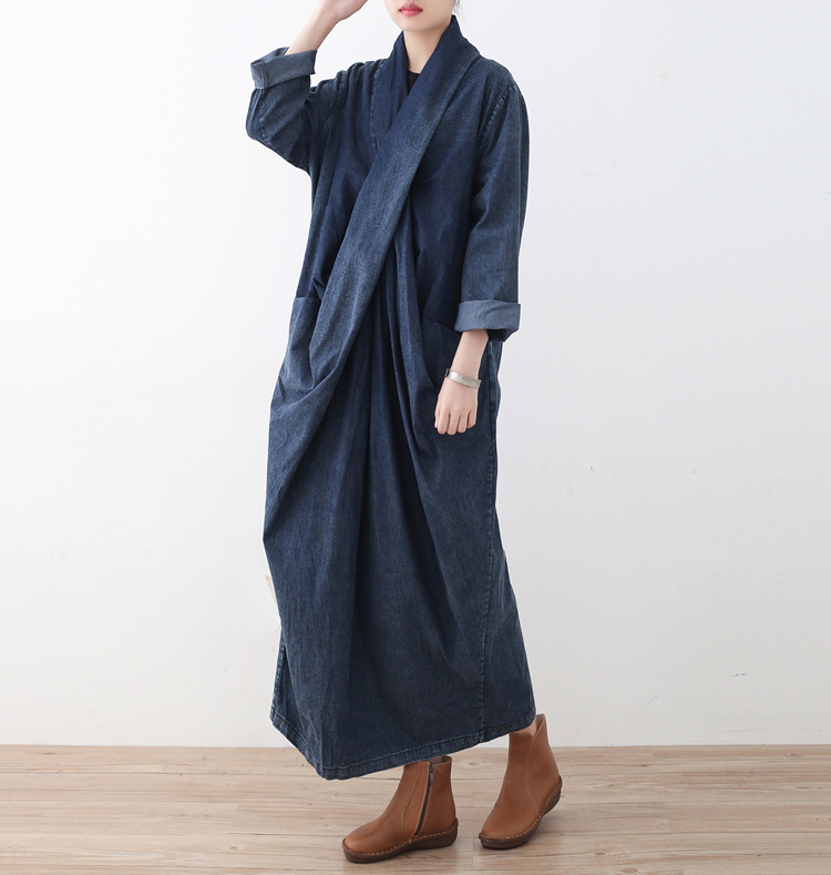 New Jean Pullover Dress 2017 Autumn Spring Long Sleeve Dress Women Loose Plus Size Cotton Linen Mori Girl Literary Long Robe 2016 new mori girl national trend loose plus size with a hood denim autumn and winter women medium long plus cotton thick vest