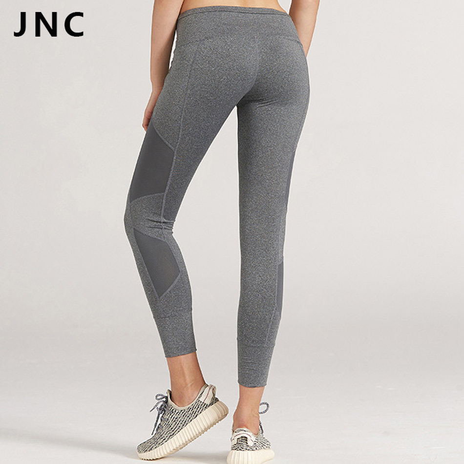 2017 High Waisted Womens Grey Sports Leggings Luxuriously Smooth Mesh Yoga Pants Premium Compression Yoga Leggings 2 Colors