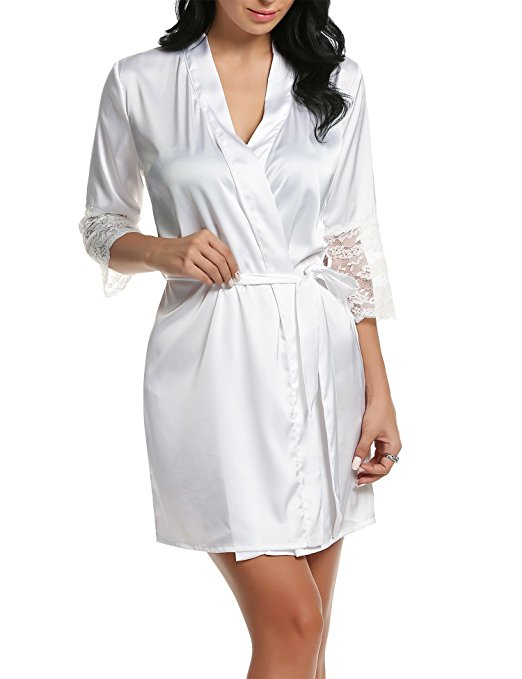 Sexy Ladies' Lace Satin Robe Gown Solid Soft Nightgown Nightwear Kimono Bathrobe Sleepwear Wedding Bride Bridesmaid Robe