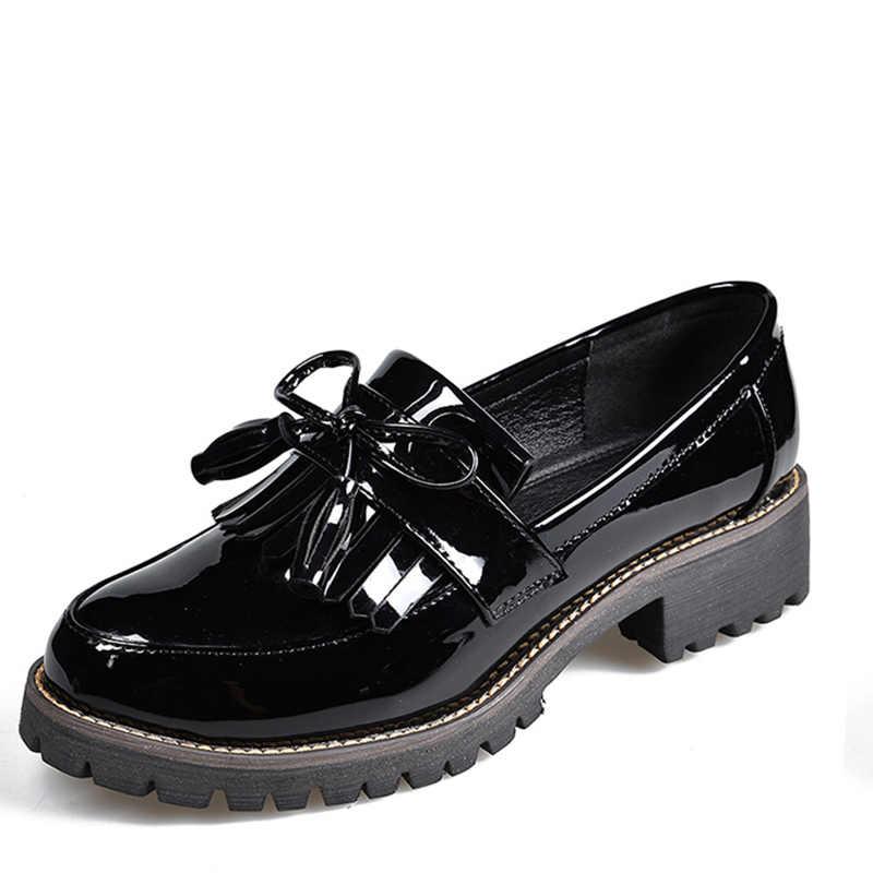 MCCKLE Kadın Düşük Topuklu Sonbahar Kadın Ayakkabı Moda Püsküller Patent Deri platform ayakkabılar Kadın Dikiş Üzerinde Kayma Kadın Ayakkabı