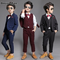 2019 new kids blazers baby boys suits single breasted shirts vest pants set boys formal wedding wear children clothing