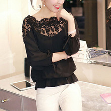 2017 New Elegant Women Blouses Plus Size Summer Long Sleeve White Cotton Slim Crochet Hollow Lace Women Tops Shirts S4