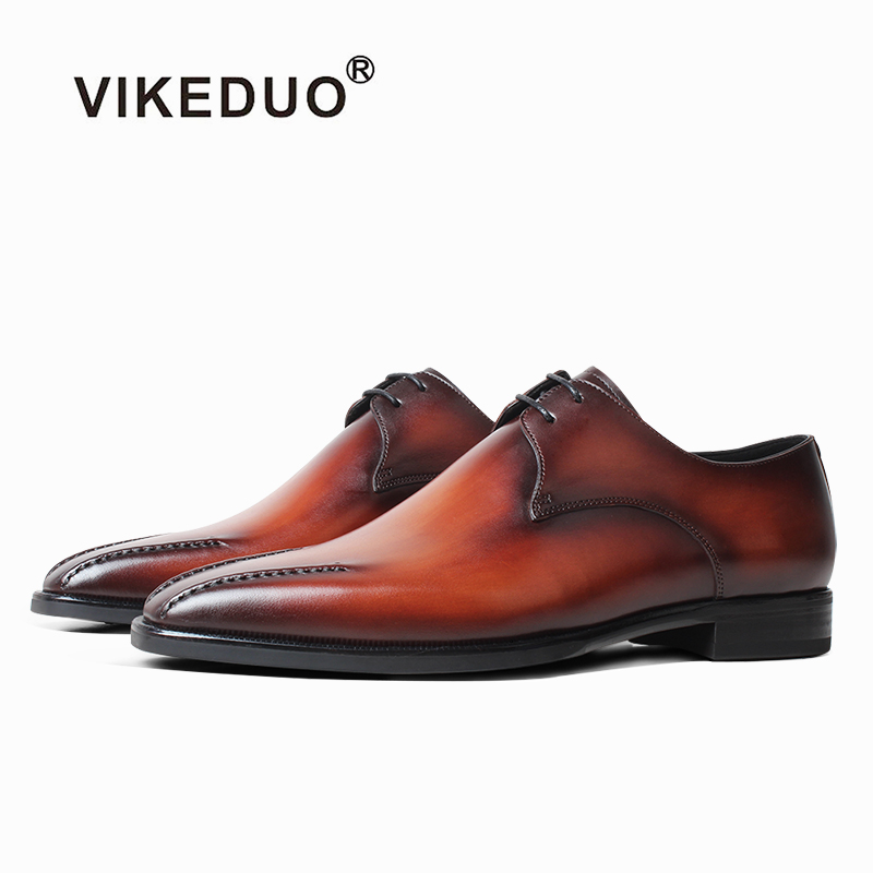 VIKEDUO Fashion Style Dress Shoes Men Patina Brown Wedding Office Shoes Derby Shoe Handmade Formal Leather Shoes Zapato Footwear in Men 39 s Casual Shoes from Shoes