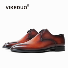 VIKEDUO Fashion Style Dress Shoes Men Patina Brown Wedding Office Derby Shoe Handmade Formal Leather Zapato Footwear