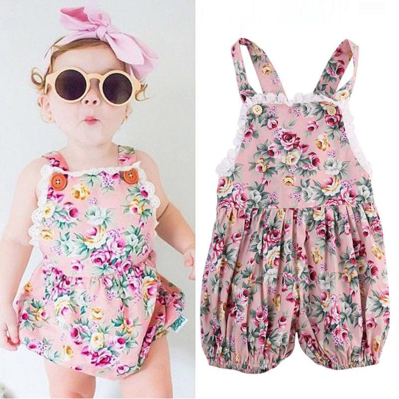 2018 New Fashion Newborn Infant Baby Girls Lace Floral Romper Halter Jumpsuit Outfits Clothes High Quality Drop Shipping