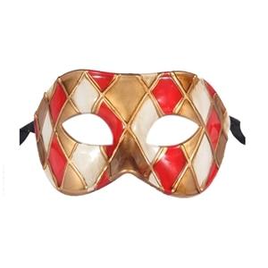 Горячая Арлекин Маскарад Танцевальная вечеринка маска уникальная мужская Венецианская проверенная маска - Цвет: red gold