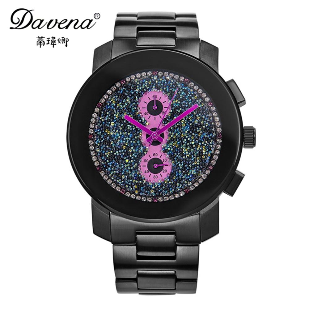 New Arrival Wristwatches Women Dress Watches Colorful Rhinestone Fashion Casual Miyota Quartz Watch Luxury Davena 60863 Hot Hour