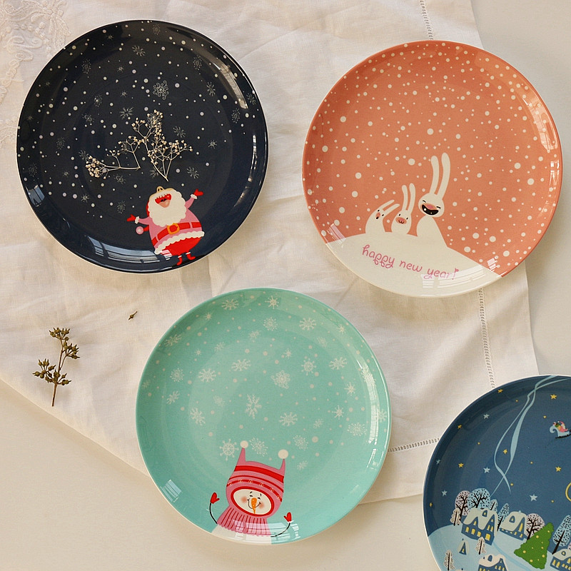 Christmas And New Year Gift Cartoon Flat Dish Western Cuisine Steak Dish Bone China Dessert Plate Buy Four 10% Off-in Dishes u0026 Plates from Home u0026 Garden on ... & Christmas And New Year Gift Cartoon Flat Dish Western Cuisine Steak ...