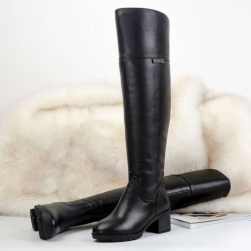 Image 5 - MORAZORA 2019 hot over the knee boots keep warm Genuine Leather Fur Wool Women Boots square high heels winter snow boots russia-in Over-the-Knee Boots from Shoes