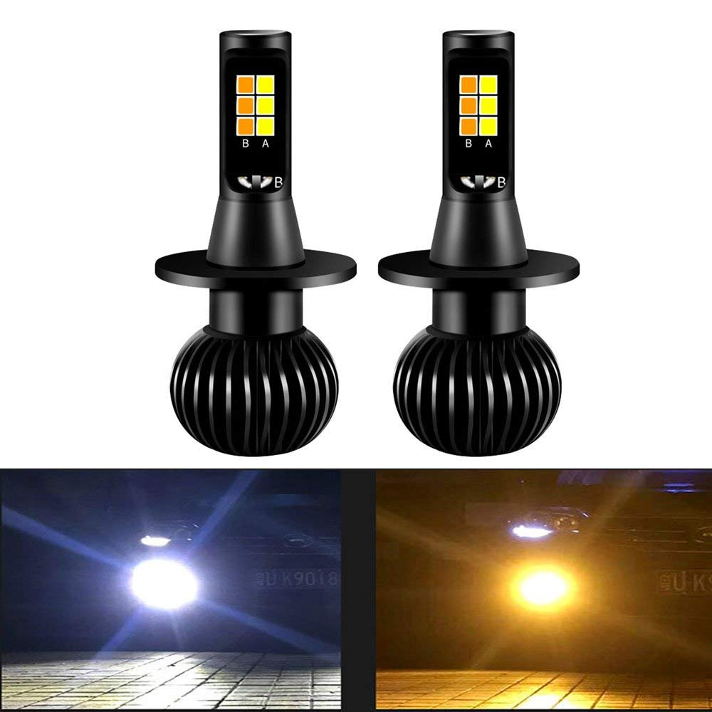 1 Pair Dual Color 1300lm 160w H3 H8 H11 Led Fog Light Bulbs White+yellow 12smd 3030 Bulbs Front Lights Lamps Bulb Evident Effect Lights & Lighting