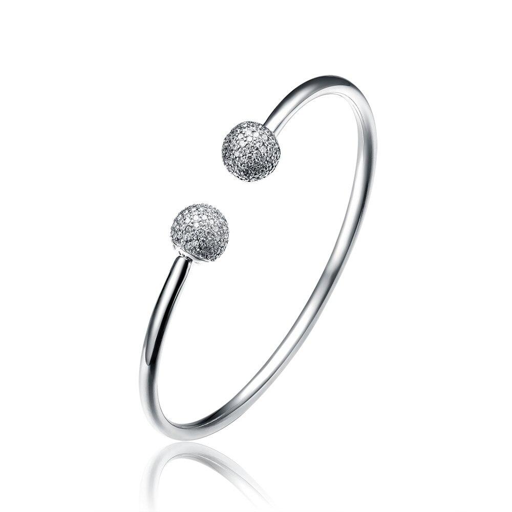 Aceworks haute qualité 100% 925 argent Sterling Pave clair CZ basique bracelet Fit bricolage charmes européens pour bijoux cadeau femme ouvert