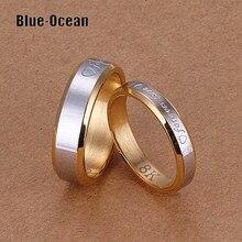Пара Обручальные Кольца, Установленные для мужчин и женщин aliancas де casamento золотой Пластине его и ее любовь обещание кольца наборы Пара свадьба группа
