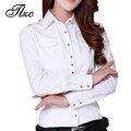 Clássico Design de Botão Senhora Do Escritório Branco Camisas de Algodão Tamanho S-2XL Boa Qualidade Mulheres de Carreira Casuais Blusas Moda