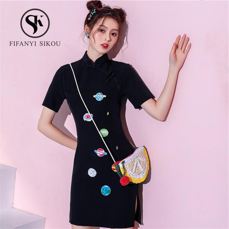 Fashion Design Black Vintage Qipao Women 2019 Summer Traditional Chinese Dress Elegant Slim Cheongsam Female Print Qipao Dress