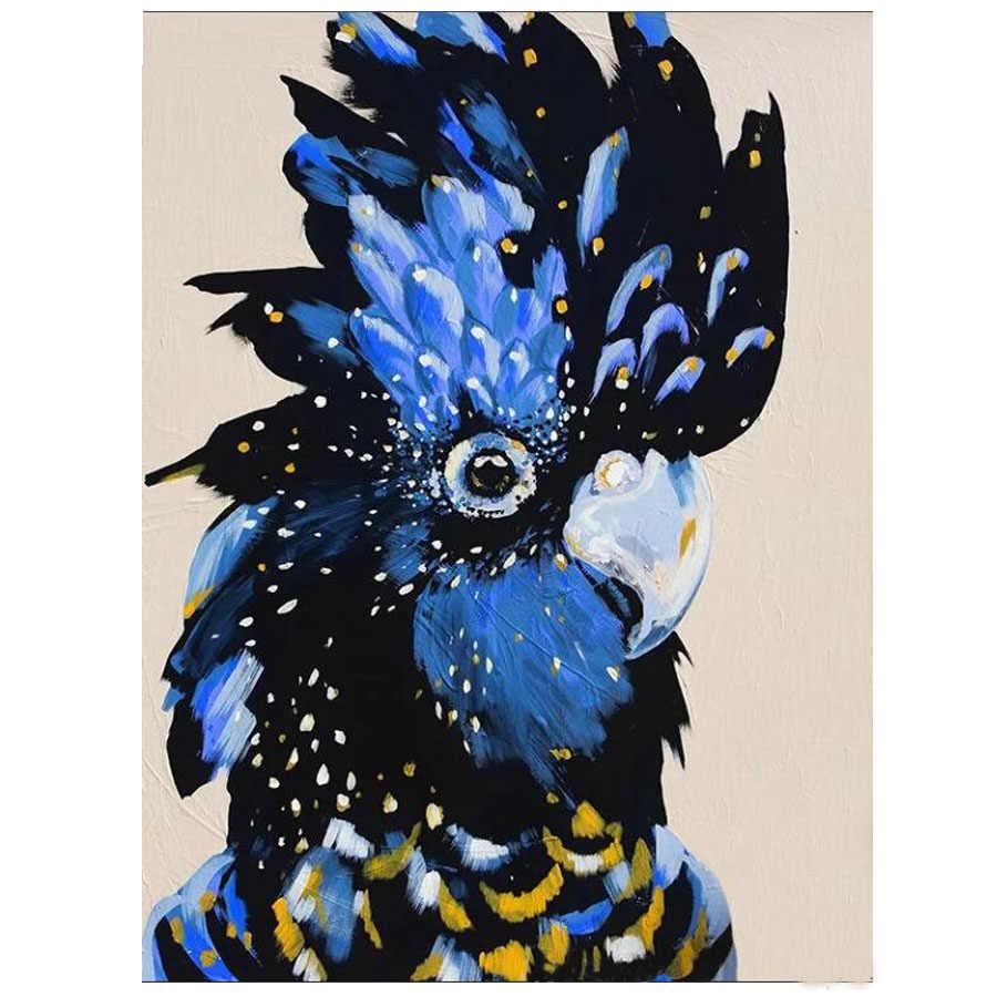5D DIY Алмазная картина черный какаду, алмазная живопись на заказ, вышивка кристаллами птица изображения пронумерованы украшение для дома искусство